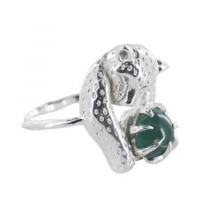 R837 Silver REBELLION RING Leopard Green Stone Ring 49,95 euro.psd