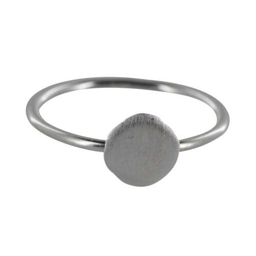 R842 Silver REBELLION RING Round Plain Charm Ring 29,95 euro