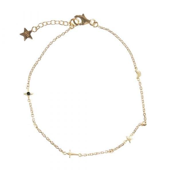 B873 Gold BLACK BONJOUR PARIS BRACELET Charms Moon Star Bracelet Gold Plated 59,95 euro