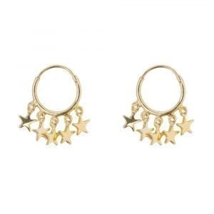 E854 Gold BONJOUR PARIS EARRING Small Hoop 5 Stars Earring Gold Plated 49,95 euro