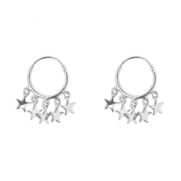 E854 Silver BONJOUR PARIS EARRING Small Hoop 5 Stars Earring Silver 39,95 euro