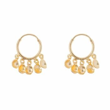 E855 Gold BONJOUR PARIS EARRING Small Hoop 5 Coins Earring Gold Plated 49,95 euro