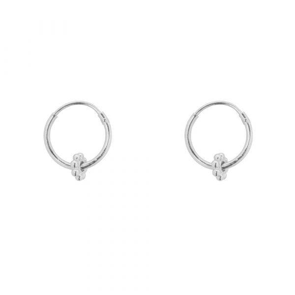 E856 Silver BONJOUR PARIS EARRING Small Hoop Balls Bead Earring Silver 29,95 euro