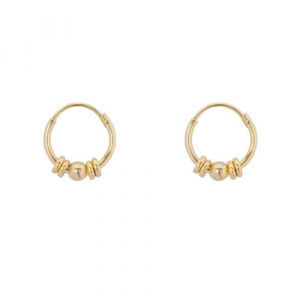 E856a Gold BONJOUR PARIS EARRING Small Hoop Rings and 1 Ball Earring Gold Plated 34,95 euro
