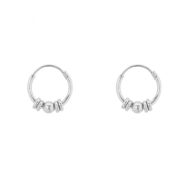 E856a Silver BONJOUR PARIS EARRING Small Hoop Rings and 1 Ball Earring Silver 29,95 euro