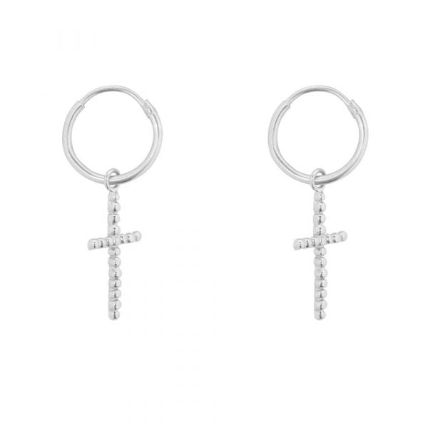 E857a Silver BONJOUR PARIS EARRING Small Hoop Big Dotted Cross Earring Silver 34,95 euro