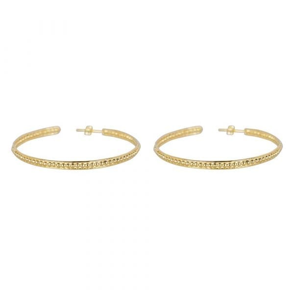 E858 Gold LARGE BONJOUR PARIS EARRING Double Ring Dots Earring LARGE Gold Plated 69,95 euro