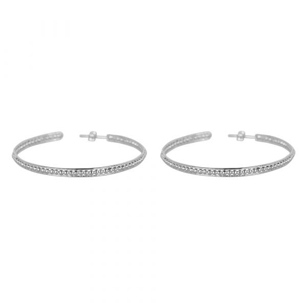 E858 Silver LARGE BONJOUR PARIS EARRING Double Ring Dots Earring LARGE Silver 59,95 euro