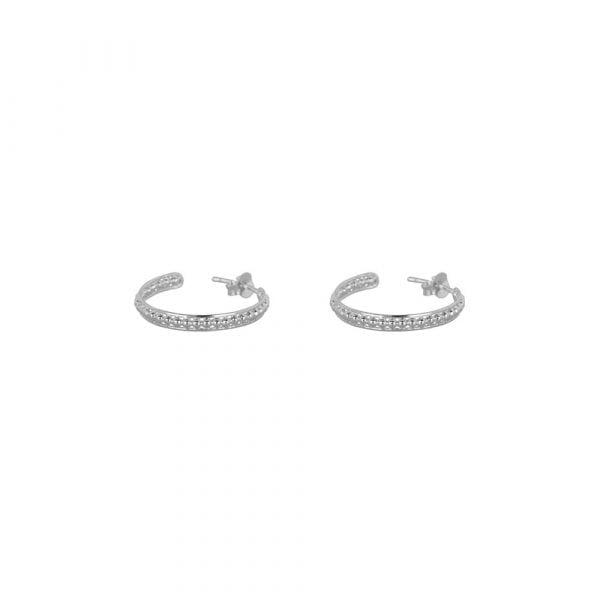 E858 Silver SMALL BONJOUR PARIS EARRING Double Ring Dots Earring SMALL Silver 49,95 euro