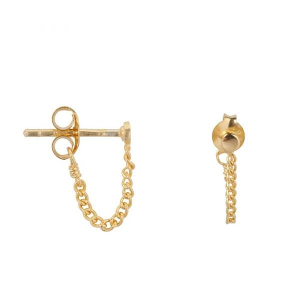 E861 Gold BONJOUR PARIS EARRING Round Stud Chain Earring Gold Plated 29,95 euro