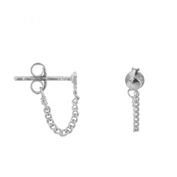 E861 Silver BONJOUR PARIS EARRING Round Stud Chain Earring Silver 24,95 euro
