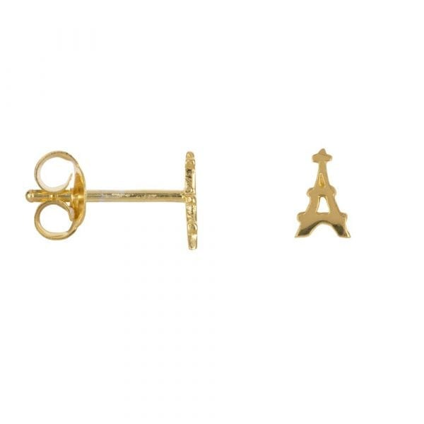 E863 Gold BONJOUR PARIS EARRING Tour Eiffel Stud Earring Gold Plated 29,95 euro
