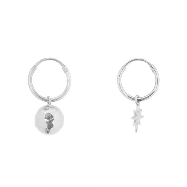 E864 Silver BONJOUR PARIS EARRING Small Hoop Disco Ball and Flash Star Earring Silver 34,95 euro