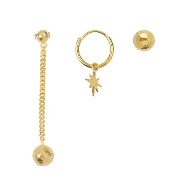 E864a Gold BONJOUR PARIS EARRING Disco Stud Mix Gold Plated (3 pieces) 59,95 euro