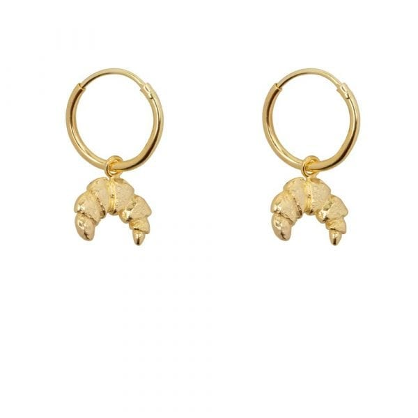 E865 Gold BONJOUR PARIS EARRING Small Hoop Croissant Earring Gold Plated 39,95 euro double