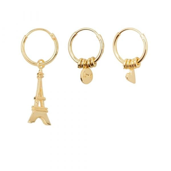 E867 Gold BONJOUR PARIS EARRING Small Hoop Tour Eiffel and Love and Heart Earring Gold Plated 59,95 euro