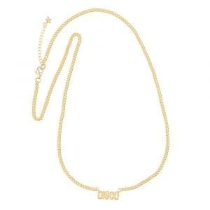 N864 Gold BONJOUR PARIS NECKLACE Disco Necklace Gold Plated 79,95 euro
