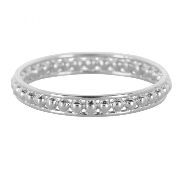 R858 Silver BONJOUR PARIS RING Double Ring Dots Size 14 Silver 34,95 euro