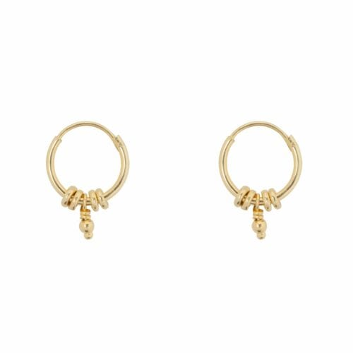 E847 Gold Plain SEA ROCKS EARRING Small Hoop Rings Ball Earring Gold Plated 34,95 euro