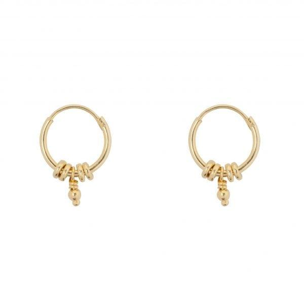 E847 Gold Plain SEA ROCKS EARRING Small Hoop Rings Ball Earring Gold Plated 34,95 euro