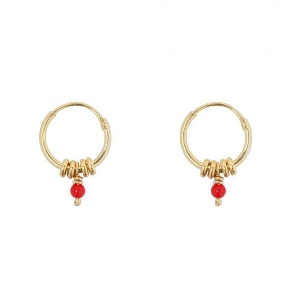 E847 Gold Red SEA ROCKS EARRING Small Hoop Rings Red Stone Earring Gold Plated 34,95 euro