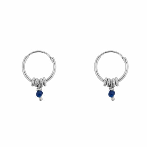 E847 Silver Blue SEA ROCKS EARRING Small Hoop Rings Blue Stone Earring Silver 29,95 euro