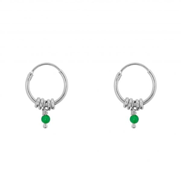 E847 Silver Green SEA ROCKS EARRING Small Hoop Rings Green Stone Earring Silver 29,95 euro