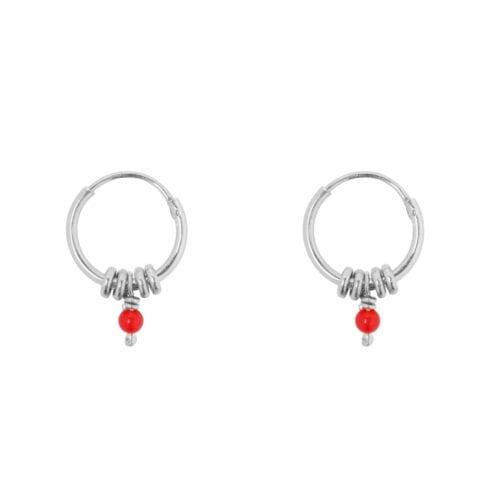 E847 Silver Red SEA ROCKS EARRING Small Hoop Rings Red Stone Earring Silver 29,95 euro