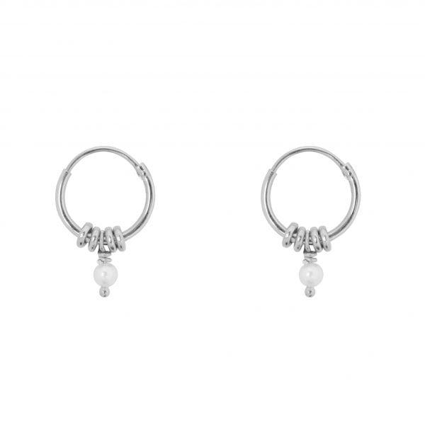 E847 Silver White SEA ROCKS EARRING Small Hoop Rings Pearl Earring Silver 29,95 euro