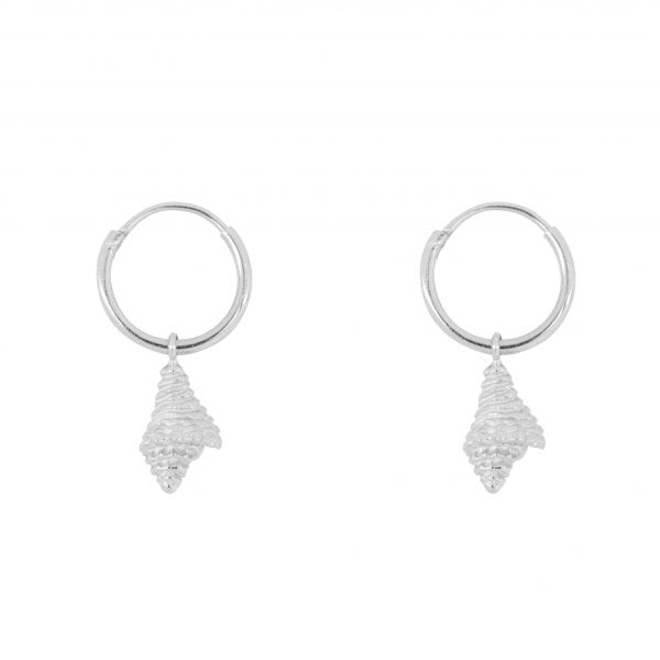 E852 Silver SEA ROCKS EARRING Small Hoop Shell Earring Silver 34,95 euro