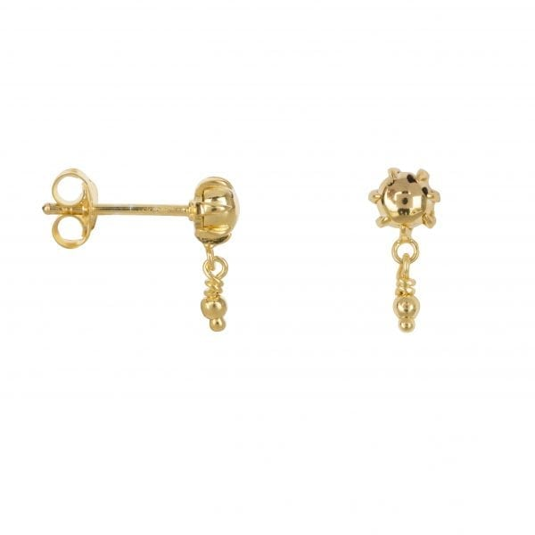 E853 Gold SEA ROCKS EARRING Double ball stud Earring Gold Plated 39,95 euro