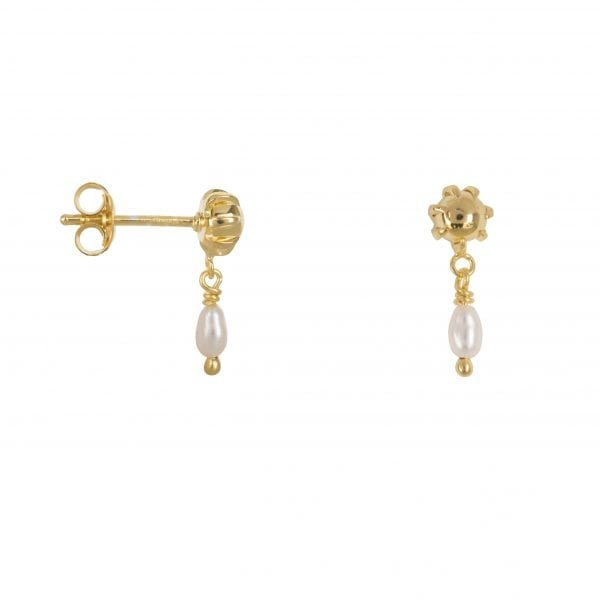 E853a Gold SEA ROCKS EARRING Double ball Pearl stud Earring Gold Plated 39,95 euro