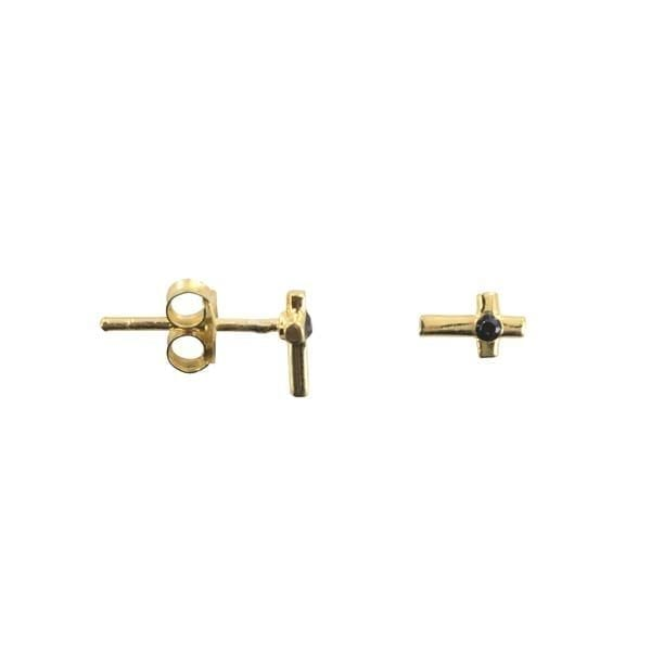 E877 Gold EARRING Cross Black Zirkonia Stud Earring Gold Plated 29,95 euro