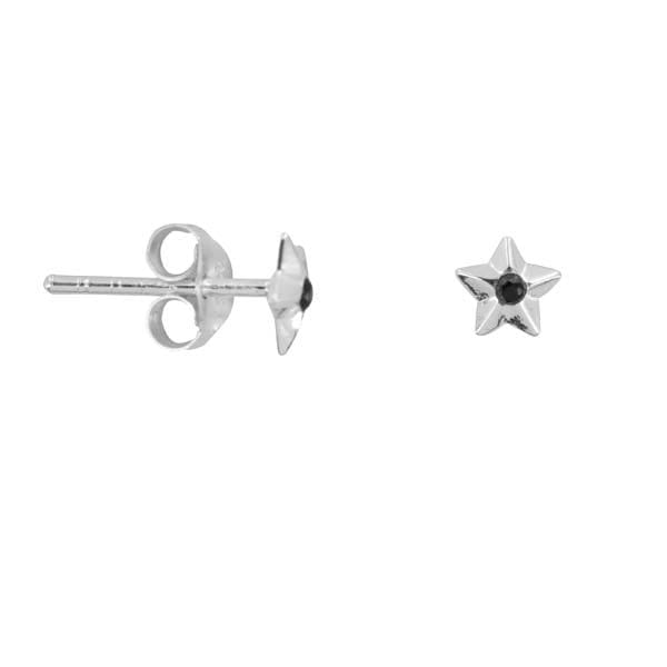 E879 Gold EARRING Medium Cone Star Black Zirkonia Stud Earring Gold Plated 29,95 euro