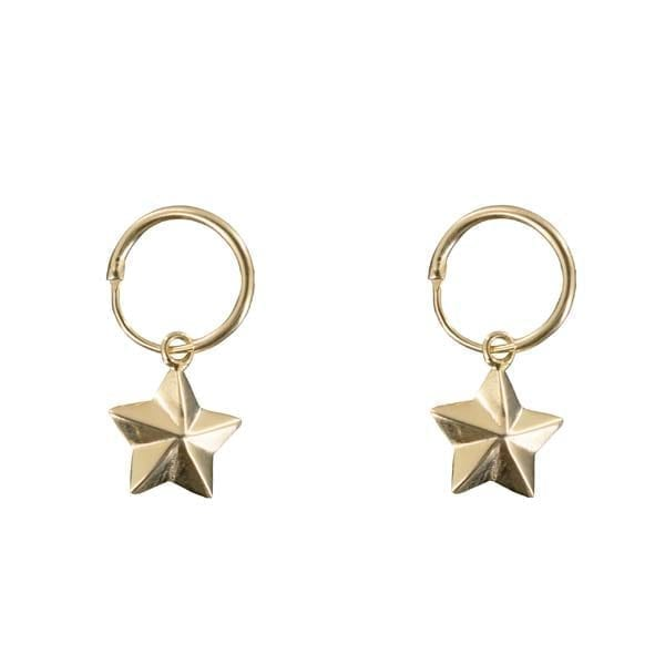 E880 Gold EARRING Double Small Hoop Large Cone Star Gold Plated 39,95 euro