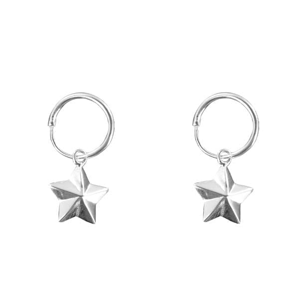 E880 Silver EARRING Double Small Hoop Large Cone Star Silver 34,95 euro