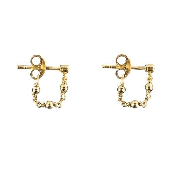 E881 Gold EARRING Plain Beads Chain Earring Gold Plated 29,95 euro