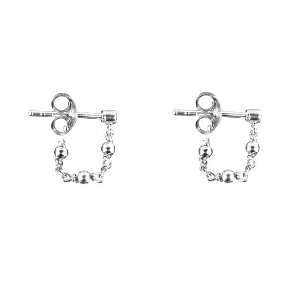 E881 Silver EARRING Plain Beads Chain Earring Silver 24,95 euro