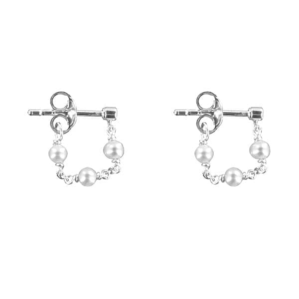 E882 Silver EARRING White Pearl Beads Chain Earring Silver 24,95 euro