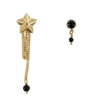 E886a Gold EARRING Large Cone Star Chain and Double Black Onyx Stud Earring Gold Plated 44,95 euro