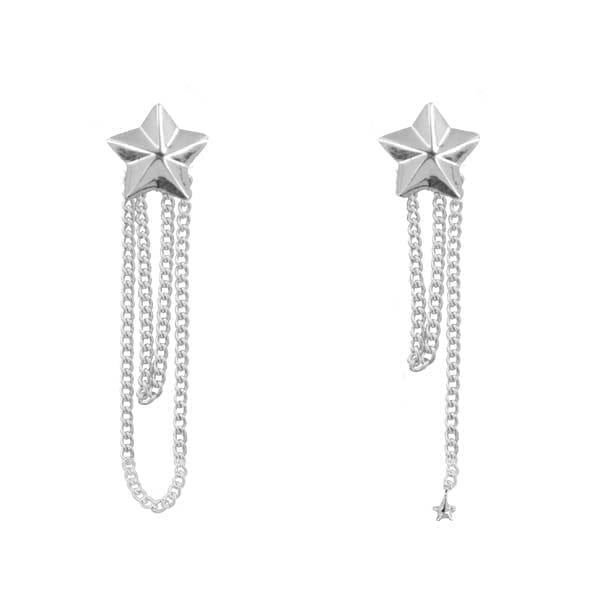 E887 Silver EARRING Double Large Cone Star Chain Earring Silver 44,95 euro