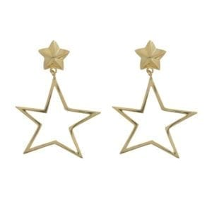 E890 Gold EARRING Large Open Asymmetric Statement Star Stud Earrings Gold Plated 49,95 euro