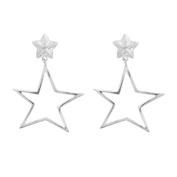 E890 Silver EARRING Large Open Asymmetric Statement Star Stud Earrings Silver 39,95 euro
