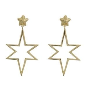 E890a Gold EARRING Large Open Symmetric Statement Star Stud Earrings Gold Plated 49,95 euro