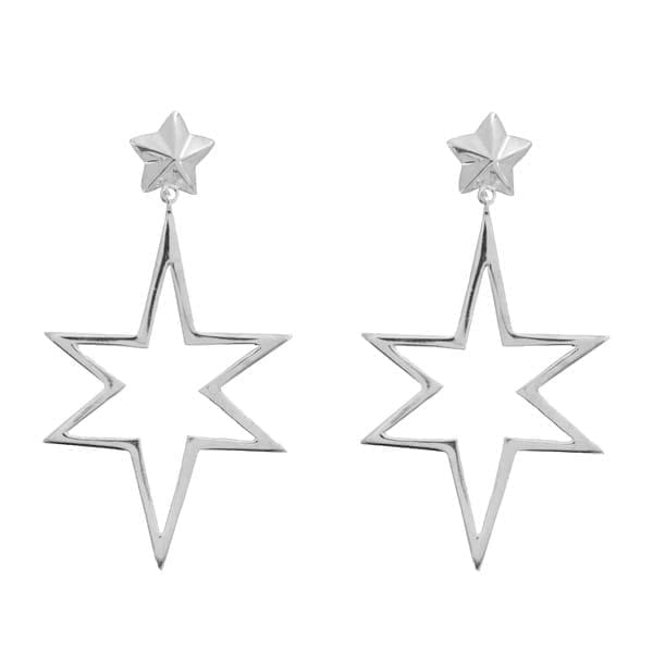 E890a Silver EARRING Large Open Symmetric Statement Star Stud Earrings Silver 39,95 euro