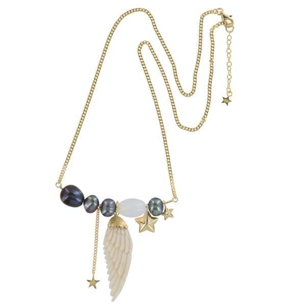 N889 Gold NECKLACE Statement White Wings Bone Necklace Gold Plated 139,95 euro