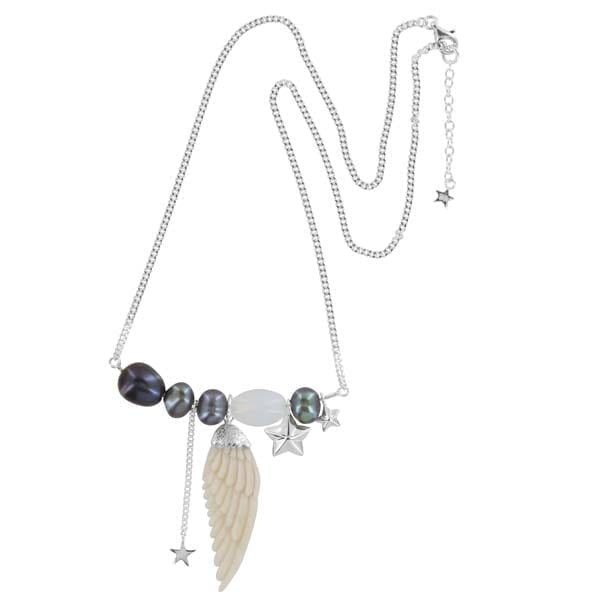 N889 Silver NECKLACE Statement White Wings Bone Necklace Silver 119,95 euro