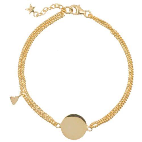 B905 Gold MUM BRACELET Double Chain Heart MUM Bracelet Gold Plated 79,95 euro