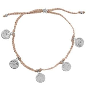 B910 Silver BRACELET Round Old Coins Braided Rope Bracelet Silver 44,95 euro