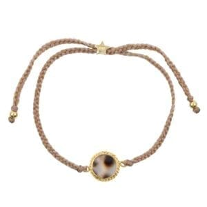 B912 Gold BRACELET Tiger Shell Round Chain Braided Rope Bracelet Gold Plated 44,95 euro